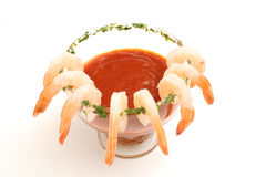 Shrimp cocktail on white Royalty Free Stock Photography