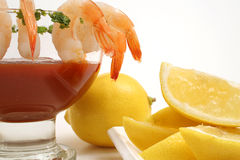 Shrimp cocktail on white level Stock Photos