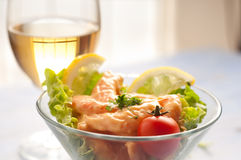 Shrimp cocktail with wine Royalty Free Stock Photo