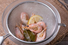 The shrimp in the colander Royalty Free Stock Photo