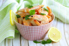 Shrimp cooked with lemon and basil Royalty Free Stock Image