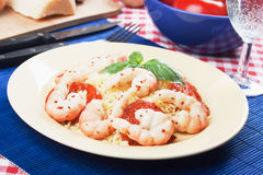 Shrimp with cooked rice Royalty Free Stock Photo