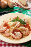 Shrimp with cooked rice Stock Images