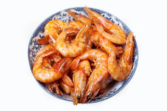 Shrimp cooking. Chinese cooking shrimp in a Chinese-style bowl Royalty Free Stock Photography