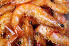 Shrimp cooking. Close up of Chinese cooking shrimp Stock Image