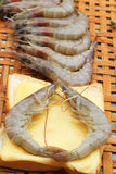 Shrimp - for cooking, place the basket. Stock Photo