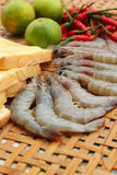 Shrimp - for cooking, place the basket. Royalty Free Stock Photography