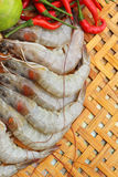 Shrimp - for cooking, place the basket. Stock Images
