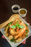 Shrimp cooking with vermicelli and seafood sauce Stock Images
