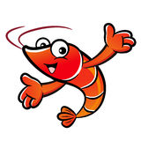 The Shrimp cooks Mascot holding a big board with both hands. Pra Stock Images