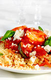 Shrimp and couscous Stock Images