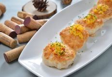 Shrimp Crab meat cake stock images