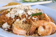 Shrimp and crap Pad Thai Stock Photos
