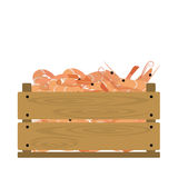 Shrimp in crate. Vector crate with shrimps. Natural, healthy food concept. Fresh sea animals collected in the wooden box. Flat design style Stock Images