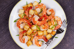 Shrimp with crispy croutons and scallions. View from above, top studio shot. Royalty Free Stock Photography