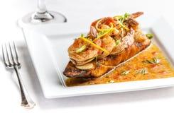 Shrimp on crusty bread Stock Photos