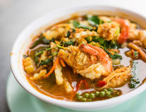 Shrimp curry with herb. Is Thai food for meal time royalty free stock photography
