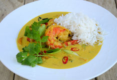 Shrimp curry with jasmine rice Royalty Free Stock Images