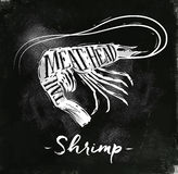 Shrimp cutting scheme chalk. Poster shrimp cutting scheme lettering meat, head, tail in vintage style drawing with chalk on chalkboard background Stock Photography