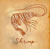Shrimp cutting scheme craft. Poster shrimp cutting scheme lettering meat, head, tail in retro style drawing on craft paper background Stock Photography