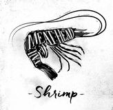 Shrimp cutting scheme. Poster shrimp cutting scheme lettering meat, head, tail in vintage style drawing on dirty paper background Stock Photos
