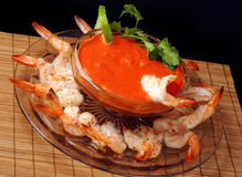 Shrimp and dip platter Stock Photo
