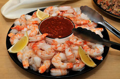 Shrimp and dipping sauce Royalty Free Stock Photos