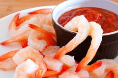 Shrimp with dipping sauce Stock Photo