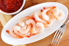 Shrimp with dipping sauce Stock Images