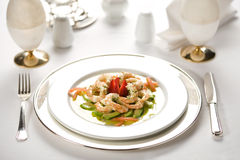 Shrimp on dish. Shrimp with sauce in a dish royalty free stock photo