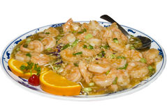Shrimp dish. Picture of a shrimp dish isolated over white Stock Photos