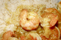 Shrimp dish with curry Royalty Free Stock Photos