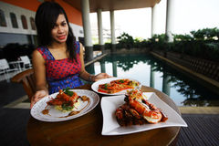 Shrimp dishes Stock Photography