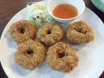 Shrimp donut. Thai food shrimp fries with salad Royalty Free Stock Images