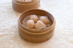 Shrimp Dumpling. HAR GOW 蝦餃 Dumpling filled with chopped shrimp inside of a delicate wheat starch skin Royalty Free Stock Photo