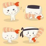 Shrimp Ebi Nigiri Sushi Set vector illustration
