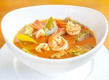 Shrimp and egg sour soup Gaeng som, Delicious thai food. In the restaurant stock photos