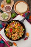 Shrimp Fajitas In Cast Iron Skillet Stock Photo