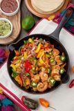 Shrimp Fajitas In Cast Iron Skillet Stock Photography