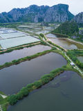 Shrimp farms from above in Sam Roi Yot National Park, Thailand. Royalty Free Stock Photo