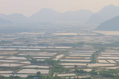 Shrimp farms and limestone mountains Stock Image
