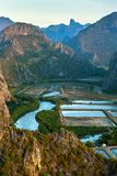 Shrimp farms and limestone mountains in Sam Roi Yot National Par Royalty Free Stock Photography
