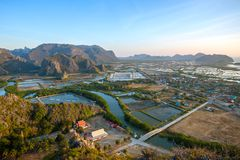 Shrimp farms and limestone mountains in Sam Roi Yot National Par Royalty Free Stock Photos