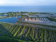 Shrimp farms and limestone mountains in Sam Roi Yot National Par Royalty Free Stock Photo