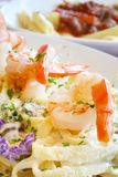 Shrimp Fettuccine Stock Photo