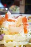 Shrimp Fettuccine Stock Photo