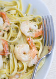 Shrimp Fettuccine. A plate of fresh shrimp fettuccine pasta Royalty Free Stock Photography