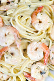 Shrimp Fettuccine. A plate of fresh shrimp fettuccine pasta Royalty Free Stock Photo