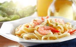 Shrimp Fettuccine Alfredo Stock Images