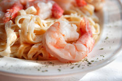 Shrimp Fettuccine Alfredo Close Up Stock Image